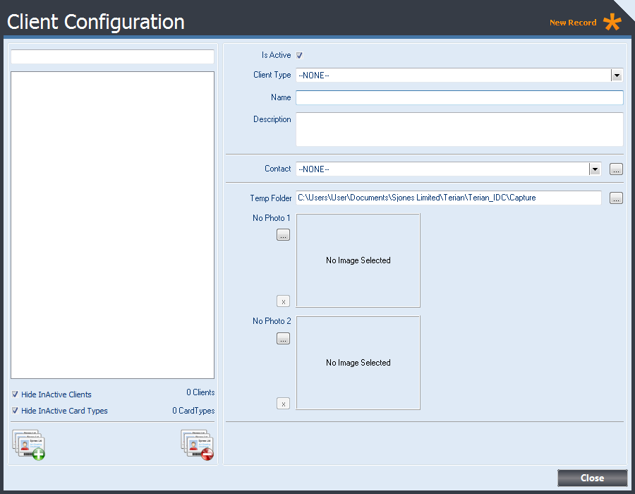 Client Configuration form displaying basic Client Configuration Options.