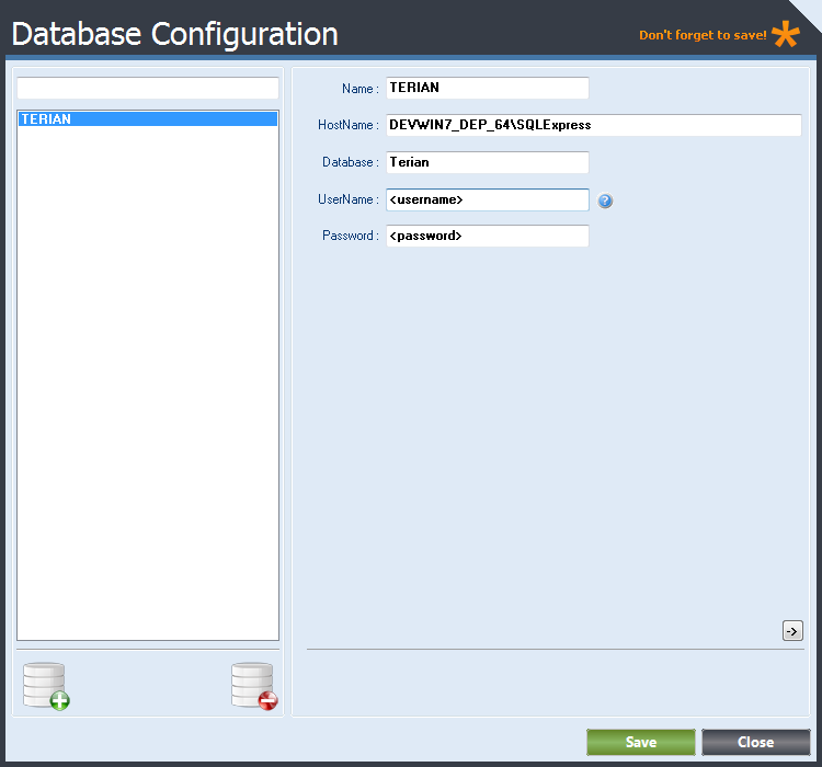 Database Configuration form displaying Database Connection Details.