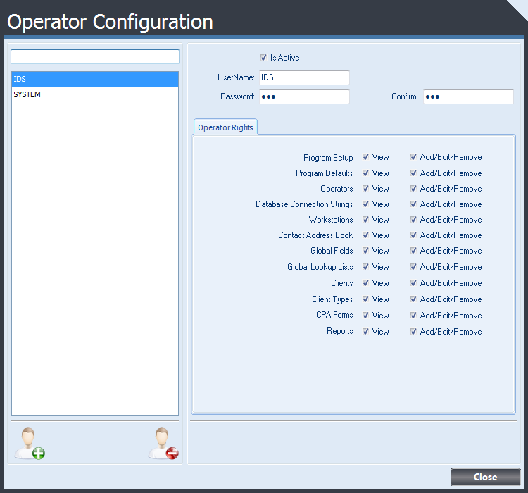 Operator Configuration form displaying settings available for each Operator.