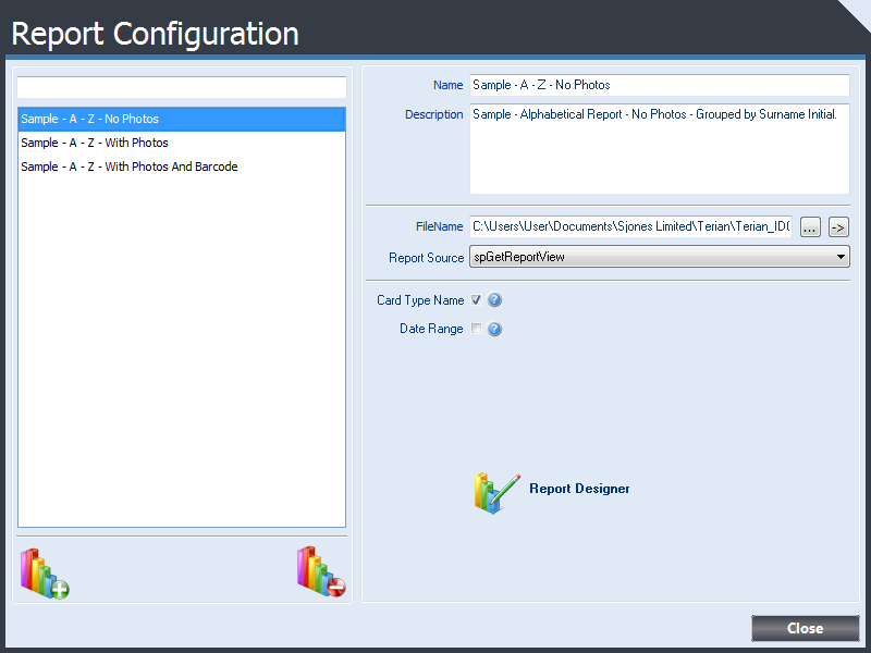 Report Configuration form displaying basic report configuration Details.