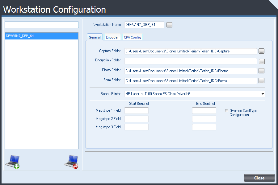 Workstation Configuration form displaying settings available for each workstation.
